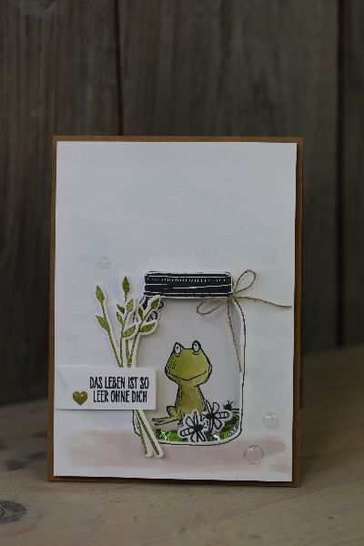 Jars of Love, Lots of Love | Heute zeige ich Euch eine weitere Schüttelkarte. Verwendet habe ich das schöne Set Glasklare Grüße von Stampin' Up!.