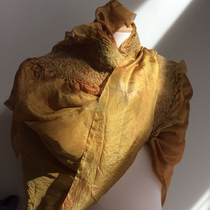 One of a kind silk nuno felted merino wool triangle summer scarf in gold by FeltTheFluff on Etsy