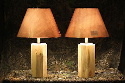 Rustic Octagon Handmade Pine Log Lamps - Cabin, Man Cave or Lodge Log Furniture - Shipping Is $19.00 for each pair