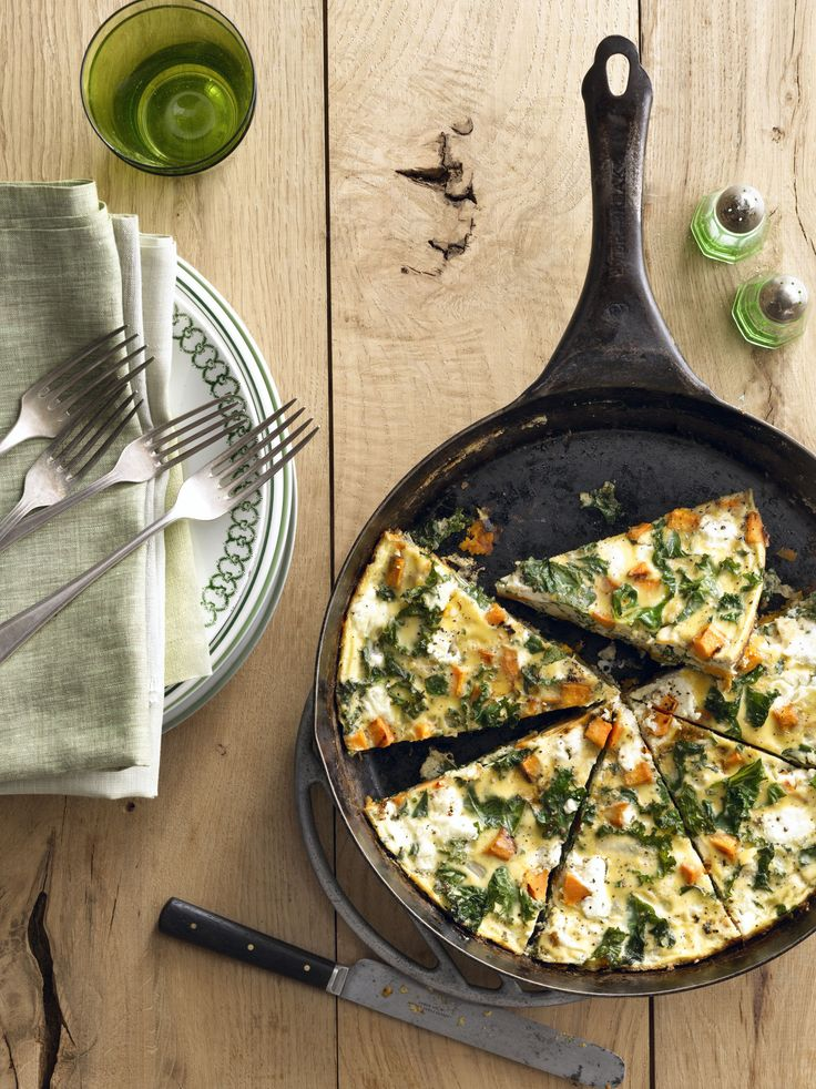 This is dinner tonight - Sweet Potato Kale Frittata  - CountryLiving.com