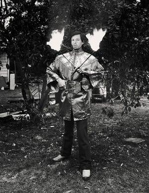 Fred Luccino, fire-eater, Gibsonton, Florida, 1975