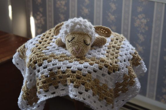 Lamb/Sheep head lovey in tan and by MadeinMassachusetts on Etsy