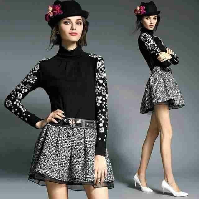 KK美衣小店,[爱丽迩高端半身裙系列] 第二款:很减龄的一款时尚短裙!黑白格纹编织的十字格花纹,个性立体,并强调了纤细修长的腿部线条,可搭配大部分上衣单品,为日常造型注入优雅大气的氛围! S,M,L,XL