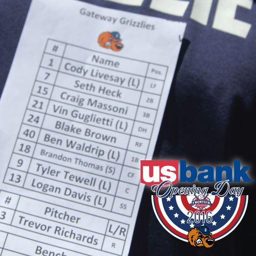 US Bank's Opening Day Lineup for your Gateway Grizzlies! Willie McGee is here, it's sunny and Grizzlies baseball is back!