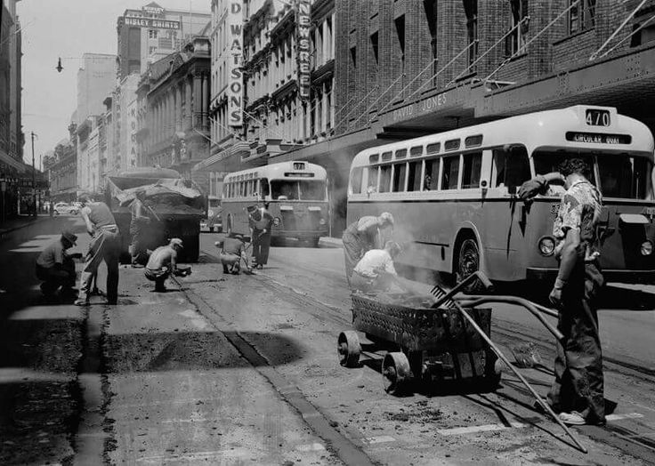 Removal of tram-tracks on George St,Sydney in 1958. Fairfax Archives.
