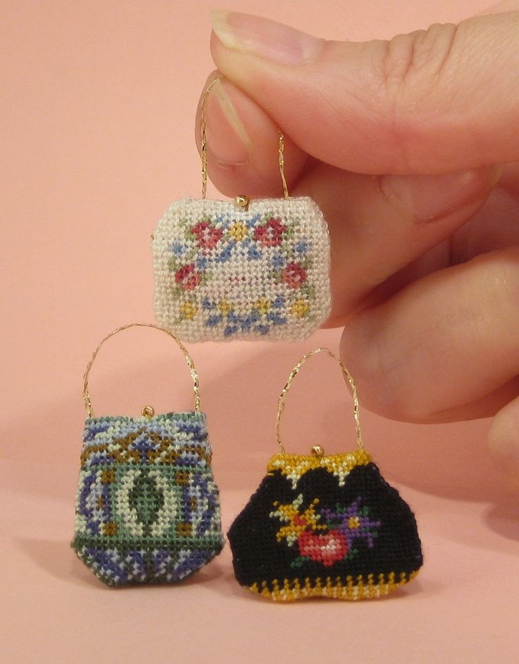 Winners of a Giveaway offer running in New Stitches magazine for a dollhouse handbag kit on 40 count silk gauze.