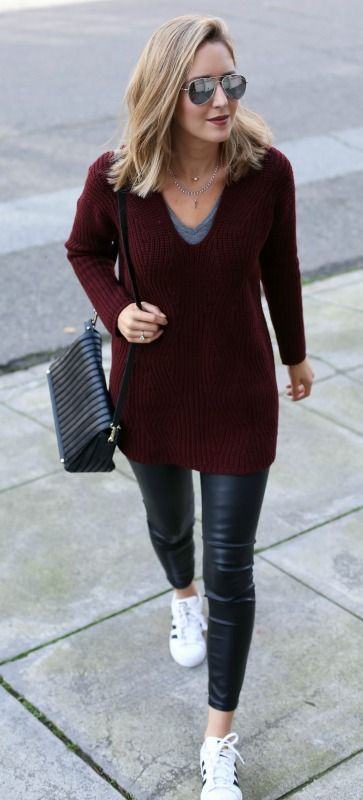 chunky knit burgundy v-neck sweater, black leather leggings, grey v-neck t-shirt, black shoulder bag, sneakers + mirrored aviator sunglasses {everlane, blank denim, express, reiss, adidas}