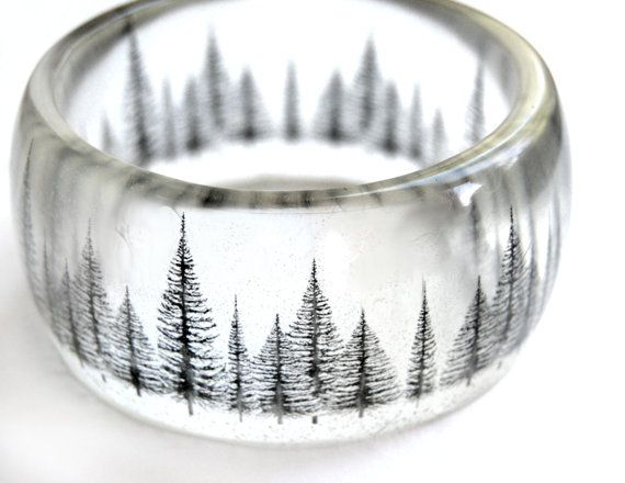 pine tree resin bangle - graphic hand cast resin bracelet - SLR camera photography on Etsy, $45.00