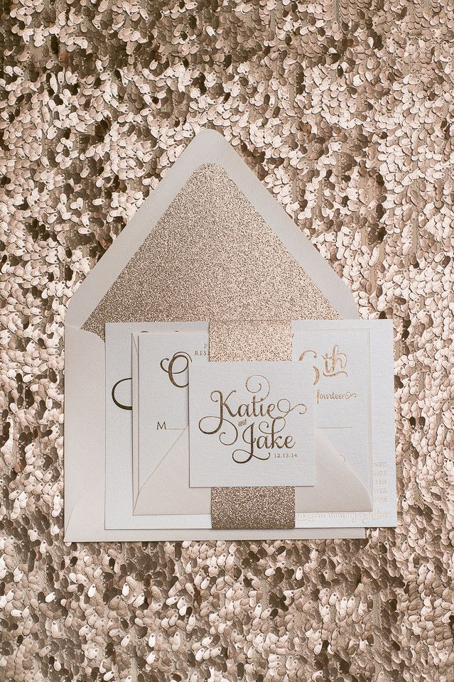 TO DIE FOR Rose Gold wedding invitations! Rose gold foil, Rose gold glitter, and blush envelopes! Letterpress, foil stamping, or more economical printing options are available!