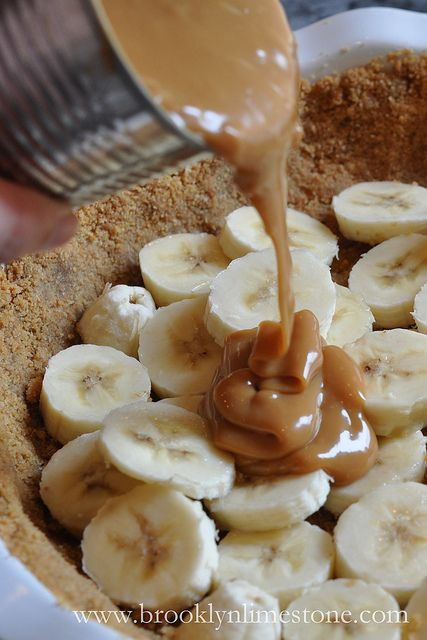 Banoffee      3 bananas     1 tin of sweetened condensed milk     2 cups whipping cream     1 package of digestive biscuits or graham crackers     1 stick of butter     1 tsp vanilla     1 small bar of chocolate