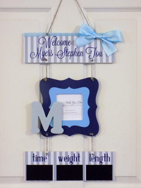12 x 21 Welcome Baby Boy Hospital Door Hanger by OliveYewToo