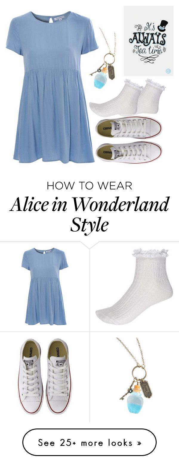 """alice in wonderland"" by marialemontero on Polyvore featuring River Island, Glamorous, Converse and Disney"