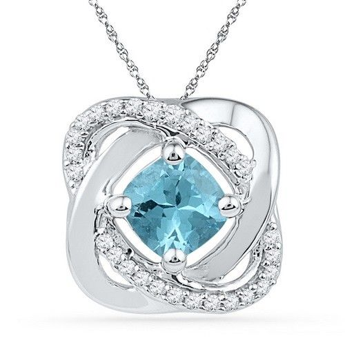 10k White Gold Love Knot Inspired 0.60 Ct Genuine Blue Topaz Pendant with 0.10 Ct Diamond Accent