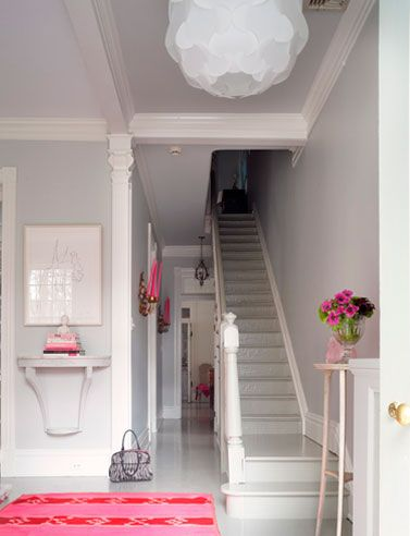 Suellen Gregory bits of pink on fresh white: Wall Colors, Entryway Wall, Design Crushes, Paintings Stairs, Interiors Design, Suellen Gregory, Wall Shelves, Pink, Lights Gray Wall