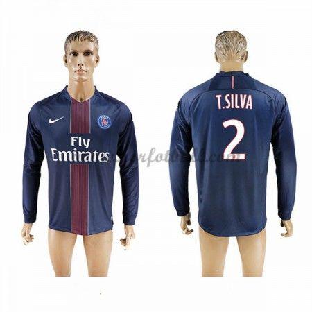 Billige Fotballdrakter Paris Saint Germain Psg 2016-17 T. Silva 2 Hjemme Draktsett Langermet