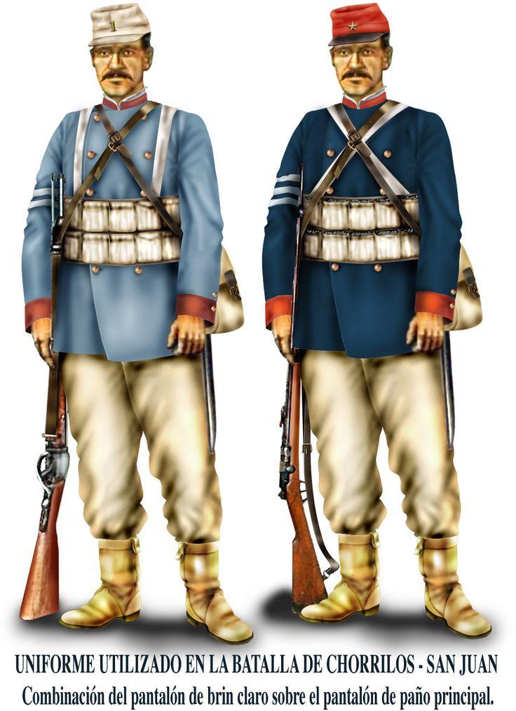 Historia militar de la Guerra del Pacífico Para la batalla, de Chorrillos, Baquedano dio órdenes de usar el pantalón de brin sobre el de paño. Esa noche era helada, y había que abrigarse. Pero los pantalones rojos se veían desde lejos, así que esa orden de usar los de brin debe estar entre las primeras de un ejército ya buscando el camuflaje.