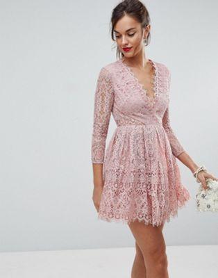 asos long sleeve lace mini prom dress festliche kleider kleid