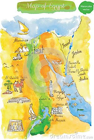 Mappa dell acquerello delle attrazioni Egitto