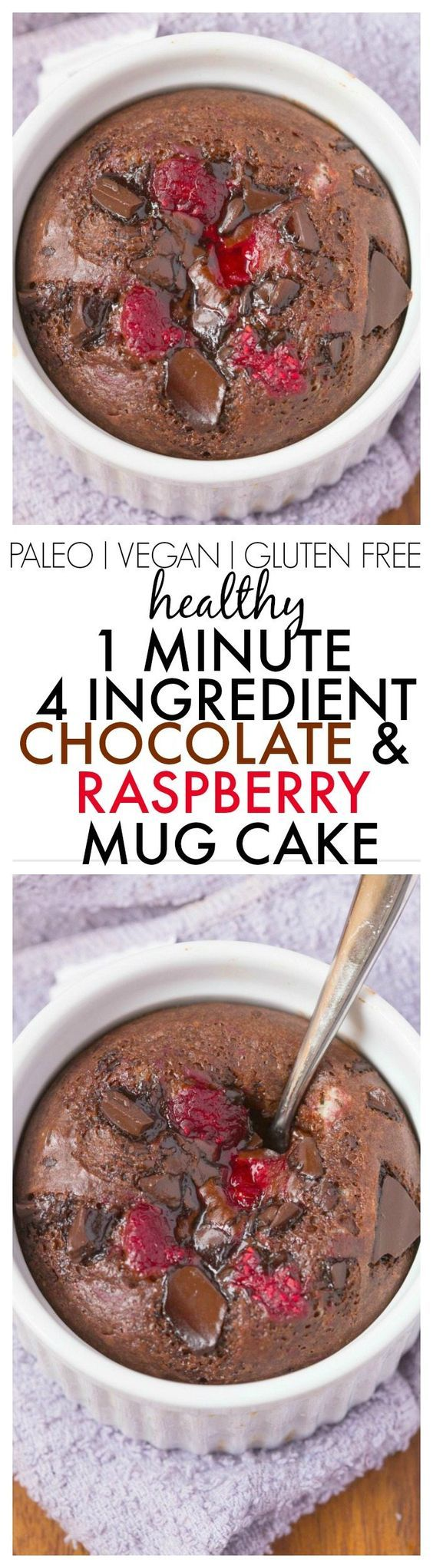 Healthy 4 Ingredient Chocolate and Raspberry Mug Cake ready in just ONE minute- NO flour NO grains NO refined sugar and NO oil/butter but amazing- Oven option too! {vegan gluten free paleo recipe}