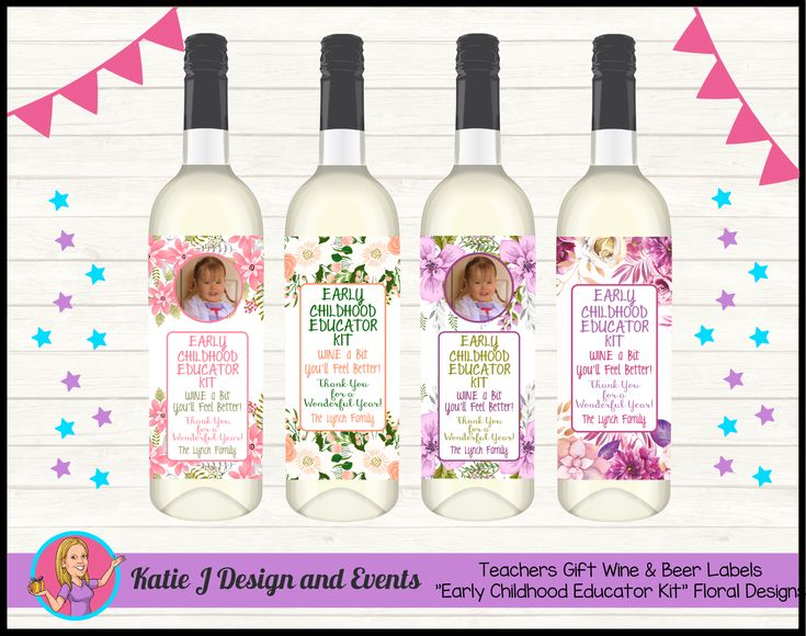 Floral EARLY CHILDHOOD EDUCATOR KIT Wine Labels (TEACHERS GIFT)