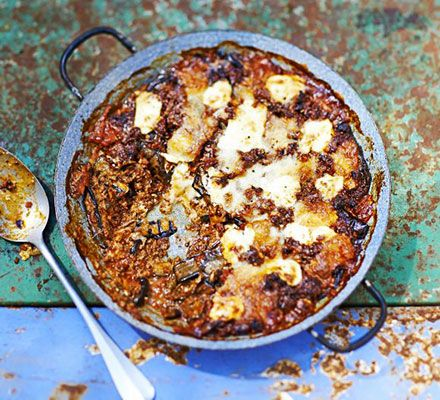 Try a meaty take on the traditional Italian aubergine bake by adding rich beef ragu. Top with mascarpone, mozzarella and Parmesan cheese