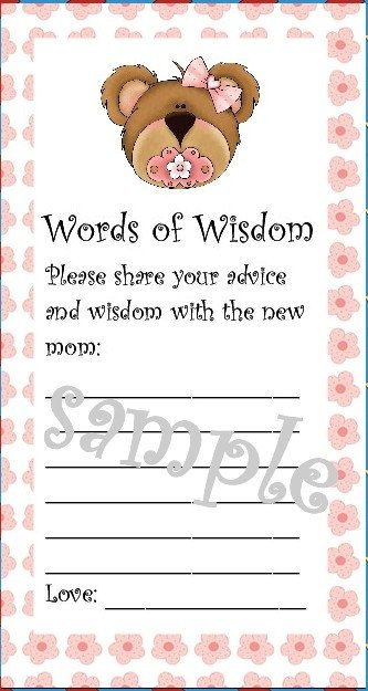 words of wisdom for new mom baby shower cool idea