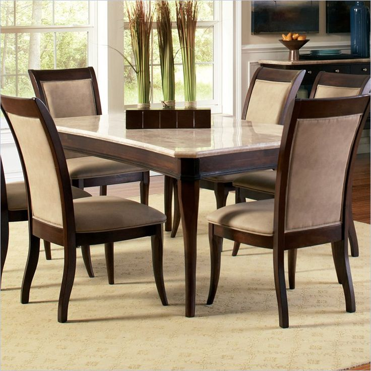 lowest price online on all steve silver company marseille marble top dining table in cherry