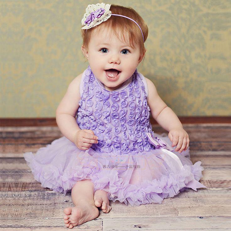 Babygirl premier anniversaire princesse pourpre pétales de dentelle ruban décors TuTu d'une seule pièce vêtements robe Costume Party(China (Mainland))