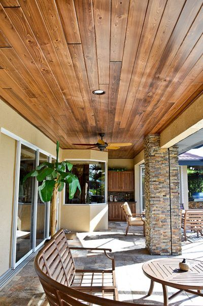 Outdoor Living Cypress Wood Ceiling And Stone Wooden