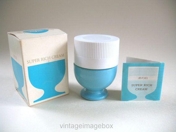 Vintage Avon 'Super Rich Cream' 1970s jar with by VintageImageBox