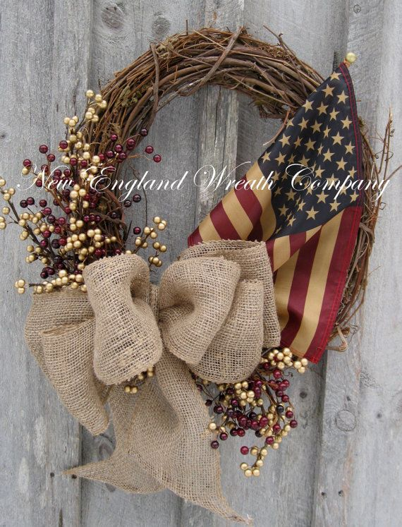 Americana Wreath, Patriotic Wreath, Fourth of July, Rustic, Country, Tea Stained Flag