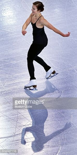 Ashley Wagner of the USA practices her routine during a practice session at TD Garden in Boston on March 29, 2016. The World Figure Skating Championships begin the next day.