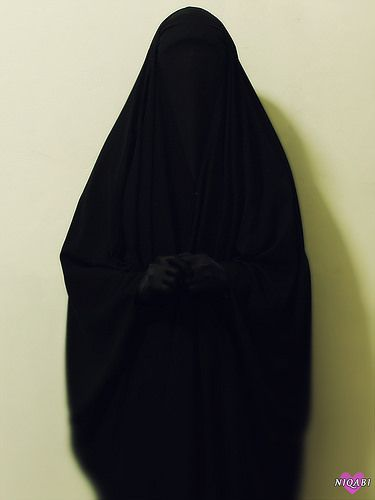Fully Veiled in Overhead Abaya, Niqab and Gloves