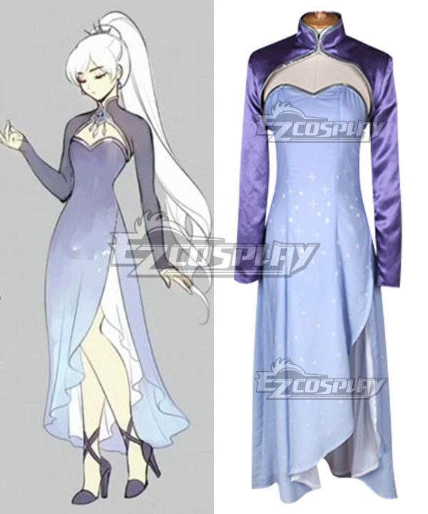 Pls email us if you need the costume, wig, shoes, weapon or other accessories of this character.  Email address: Ezcosplay@gmail.com RWBY Season 4 Weiss Schnee Timeskip Long Cosplay Costume - ERW0072