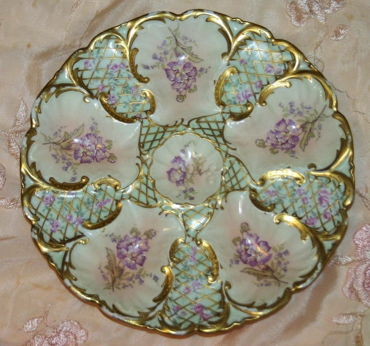 Antique Limoges Oyster Plate with Gold Mesh Design & 156 best Oyster Plates images on Pinterest   Dish sets Oysters and ...