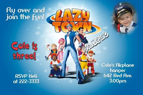 Lazy Town Birthday Invitations - Get these invitations RIGHT NOW. Design yourself online, download and print IMMEDIATELY! Or choose my printing services. No software download is required. Free to try!
