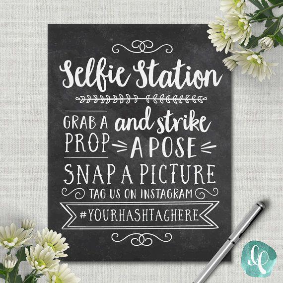 Chalkboard Selfie Station Sign / Wedding Photo Booth Sign /