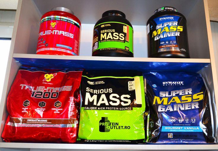 Suplimente masa musculara la cele mai mici preturi! Ai Serious Mass de la Optimum Nutrition, Super Mass Gainer de la Dymatize si True Mass de la BSN in 2 cantitati!