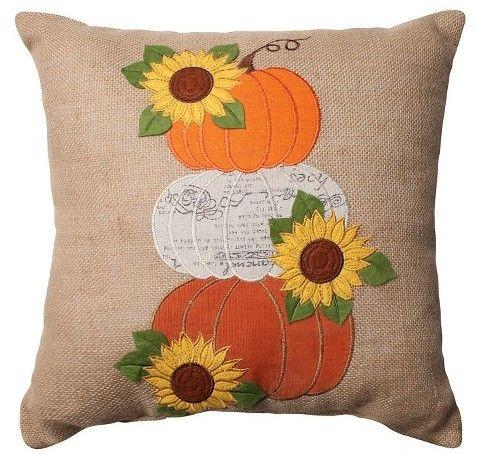 """Pillow Perfect Harvest Pumpkins and Sunflowers Burlap Throw Pillow - Tan (16.5"""")"""