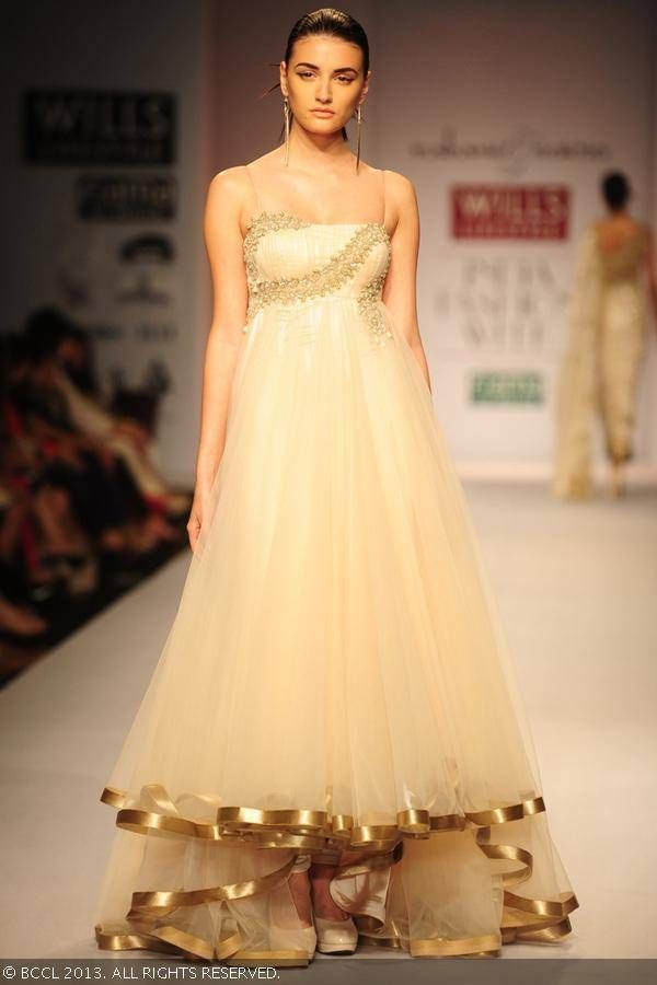 Cream anarkali by Rabani and Rakha at Wills Lifestyle India Fashion Week (WIFW) Spring/Summer 2014