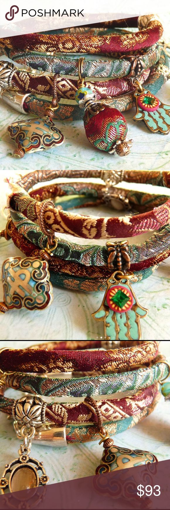 THE ULTIMATE HANDMADE SILK WRAP BRACELET, BRILLANT RED WINE BROCADE WRAP BRACELET Made to order  with silver plated teal ornaments, original pure silk brocade from India and strengthened with a cotton cord inside.  Colors are red wine with some shades of teal, while vintage sari silk is used for the border.  The charms and pendants are chosen from a large bead collection from the designer. The medallion pendant and polymer clay object is also made by the designer.  The total length is 30…