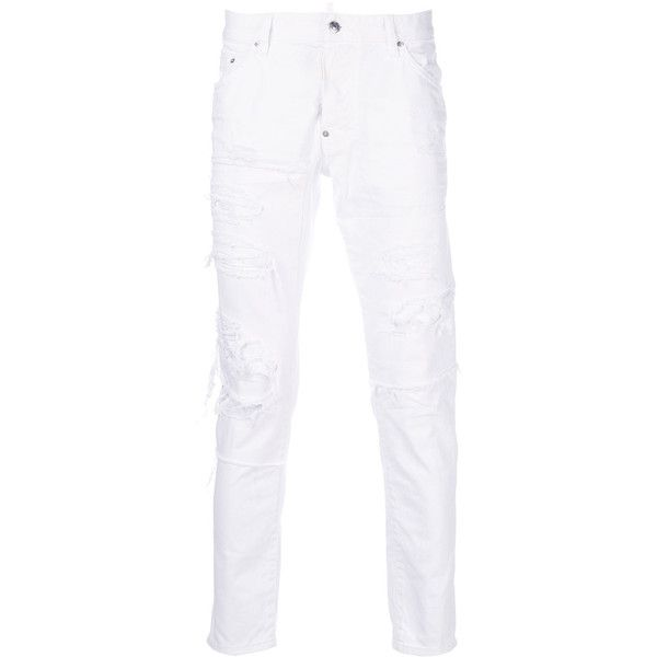 Dsquared2 distressed Skater jeans ($685) ❤ liked on Polyvore featuring men's fashion, men's clothing, men's jeans, white, mens white jeans, mens button fly jeans, mens zipper jeans, mens ripped jeans and mens slim jeans