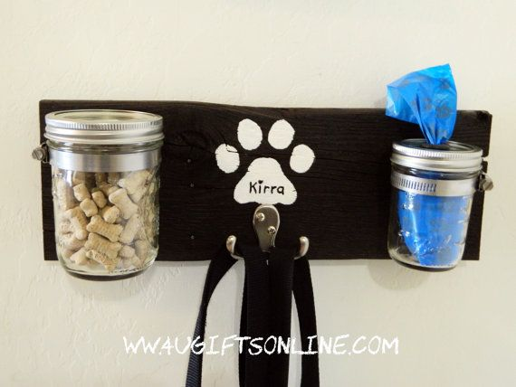 Rustic Dog Leash Holder with Treat Jar and Poopie by 4UGIFTSONLINE, $25.00