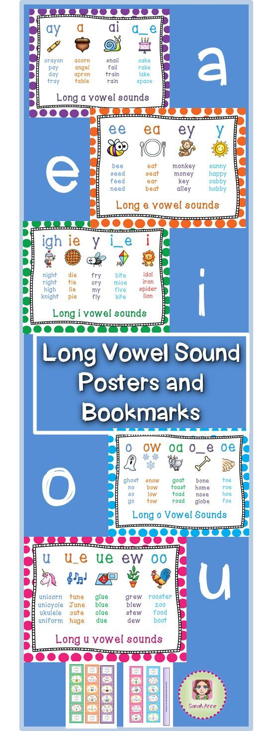 Long Vowel Sound Poster Bundle includes 28 posters and 5 bookmarks representing…