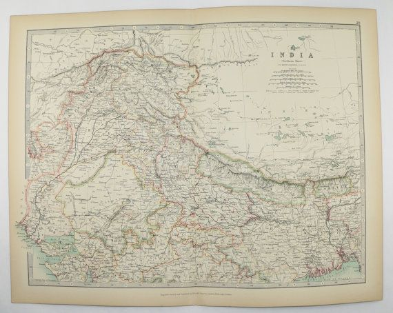 1905 Johnston India Map, Northern India, Pakistan Map, Kashmir Nepal Map, Unique Wedding Gift for Couple, Vintage Map Himalaya Mountains available from OldMapsandPrints.Etsy.com #IndiaAntiqueMap #PakistanAntiqueMap #NepalAntiqueMap