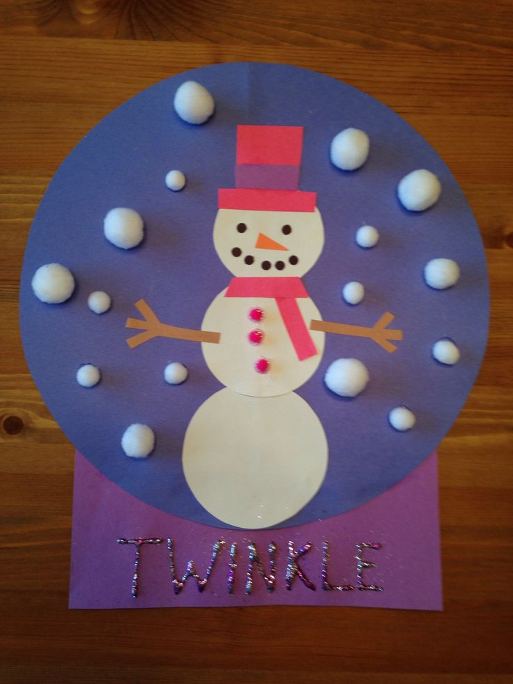 Snowman Snow Globe Craft - Snowgirl craft - Winter Craft