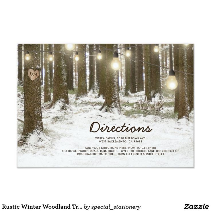 """Rustic Winter Woodland Tree Wedding Directions Card Rustic christmas wonderland wedding direction cards featuring a romantic snowy winter woodland setting, twinkle string lights, carved heart in trunk of tree, your initials and a modern text template. For further customization, please click the """"Personalize it"""" button to modify this template. All text style, colors, and sizes can be modified to suit your needs."""