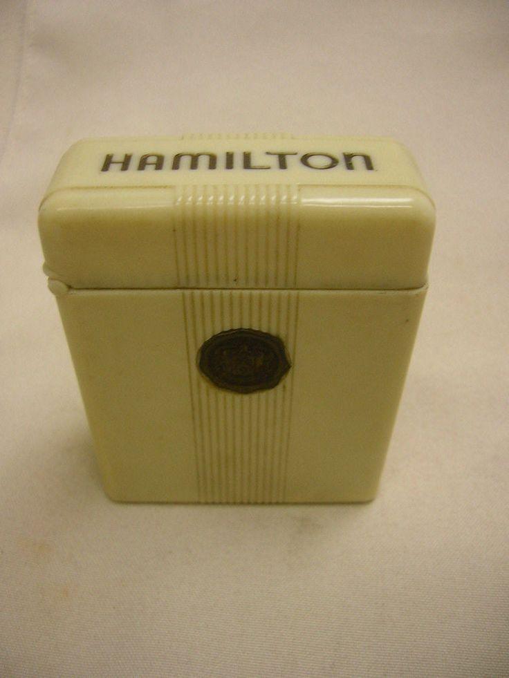 Vtg Hamilton Pocket Watch Case Bakelite Railroad Cigarette Box for 992B Watch #Hamilton