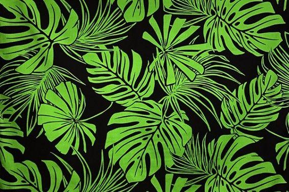 Pab0896 Black Green Green Hawaiian Print Plant Leaves