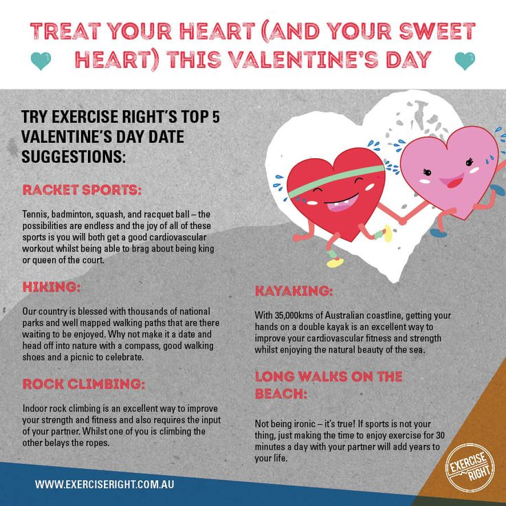 Exercise Right's top 5 active date ideas to treat your heart (and your sweetheart) this Valentine's Day.  #ActiveDates #DateIdeas #ValentinesIdeas #ValentinesDay #ExerciseDate #Relationships #ExerciseRight